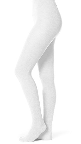 Sweater Ballet Ribbed - EMEM Apparel Women's Ladies Junior's Flat Knit Bamboo Cotton Sweater Winter Opaque Footed Tights Hosiery Stockings White C