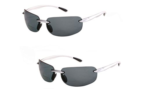 2 Pair of Lovin Maui Wrap Polarized Nearly Invisible Line Bifocal Sunglasses (Polarized - Silver/Silver, - Brand Expensive Sunglasses