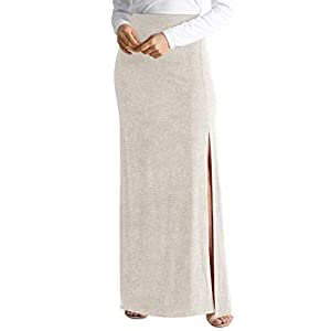 Womens Long Maxi Skirt Reg and Plus Size High Waisted Skirt with Sexy Side Slit - USA