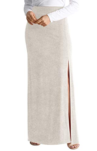 - Heather Grey Long Maxi Skirt for Women Grey Beach Skirt reg and Plus Size high Waisted Maxi Skirts for Women (Size Small US 0-2, Heather Grey)