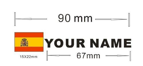 Pegatina vinilo impreso para coche, moto, bici, pared, puerta, nevera, carpeta, etc. Bandera mas nombre personalizado SUPER STICKER