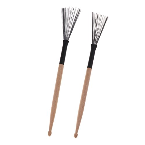 Baoblaze 1 Pair Rock Jazz Sticks Retractable Jazz Metal Wire Drum Brush Drum Parts
