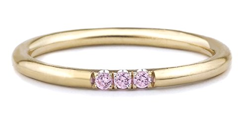 Ice on Fire Jewelry 14k Yellow Gold Three Stone Pink Colored Cubic Zirconia Stacking Birthstone Ring (8.5)