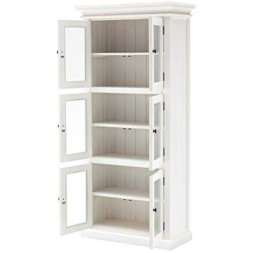 NovaSolo Halifax Pure White Mahogany Wood Storage Cabinet/Pantry Unit With Glass Doors And 6 Shelves by NovaSolo (Image #2)