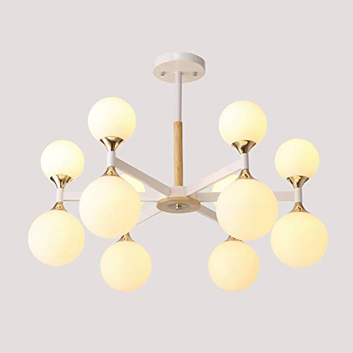 HYKY Glass Chandelier, Wrought Iron Pendant Lights Modern Wood Ceiling Lamp Bedroom Living Room Dining Room Cafe Decoration Lamps, 110-220v, 12 Head