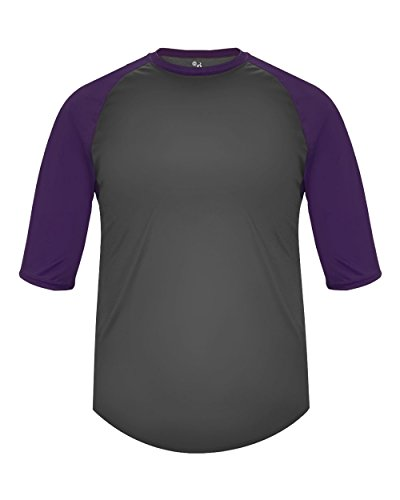 Adult Large Graphite with Purple Sleeves Raglan 3/4 Baseball & Softball Undershirt/Jersey Top