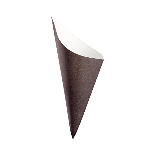 Wedding Favor Cones - Conetek 10-Inch Eco-Friendly Black Finger Food Cones: Perfect for Appetizers - Food-Safe Paper Cone - Disposable and Recyclable - 100-CT - Restaurantware