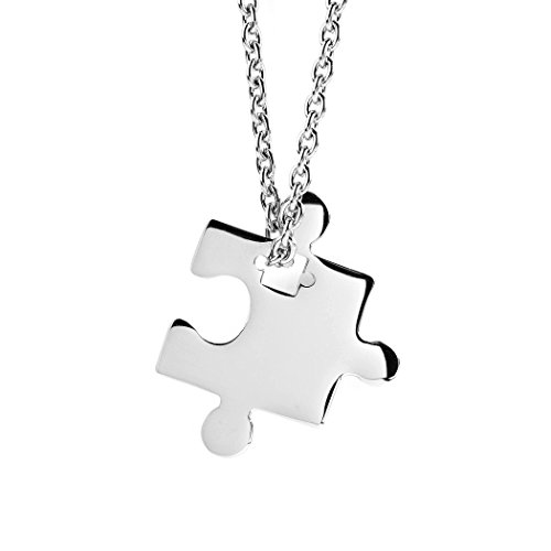 ELYA Jewelry Womens Stainless Steel Jigsaw Puzzle Piece Pendant Necklace, White, One Size -