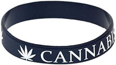 YLH Hoja de Cannabis Hop de Moda de Punk Pulsera de Silicona Correa de impresión de Reggae jamaicano (Color : Black)