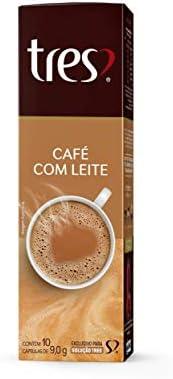 Cápsula de Bebida Cremosa, Café com Leite, 10 Unidades, Tres, 3 Corações
