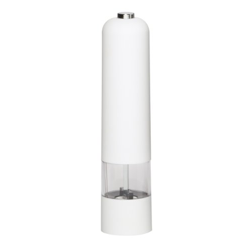 Kamenstein Smooth Touch Battery Operated Salt Grinder with Free Spice Refills for 5 Years, White