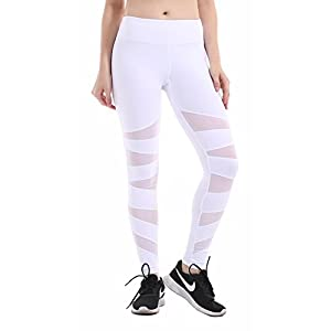 Heat Move Women Mid Waisted Pocket Compression Yoga Pants Stretch Mesh Workout Gym Running Leggings (Medium, White)