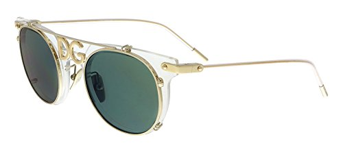 Dolce & Gabbana Men's 0DG2196 Clear/Pale Gold/Light Green Mirror Petrol One ()