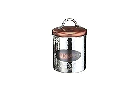 Homezone Coffee Tea Sugar Kitchen Canisters Air Tight Storage Containers Metal Glass Porcelain Kitchen Storage Jars Kitchen Organisation Copper