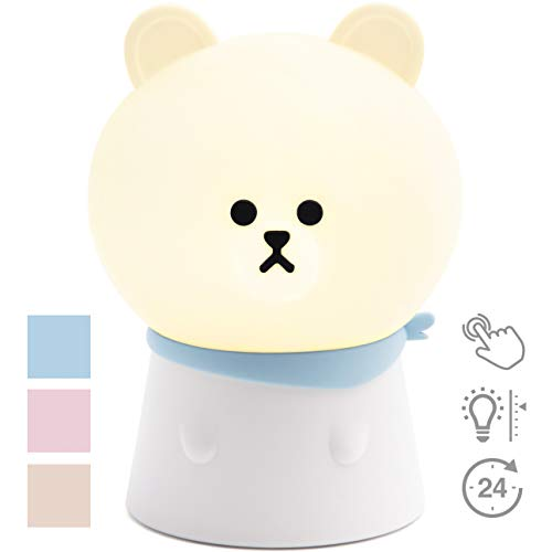 Sleeping Lamp Beauty - Evie Life Night Light for Kids, Children Bedroom Lamp, Christmas for Boys Girls Kids, Soft Silicone with Touch Sensor Adjustable Brightness Portable USB Rechargeable