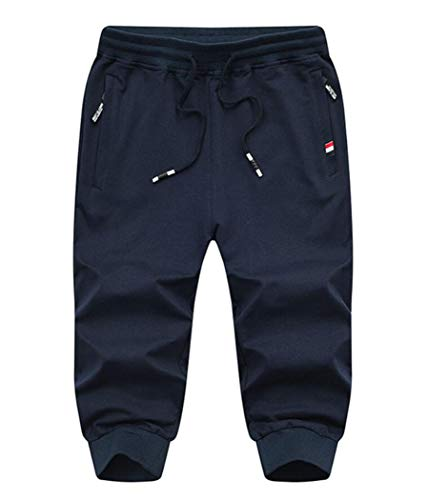 Amoystyle Men's 3/4 Capri Pants Jogger Running Shorts Navy, 34 ()