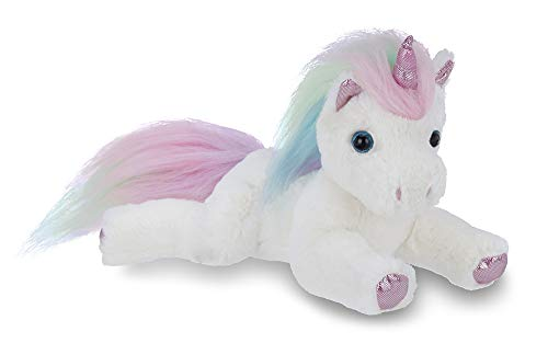 Bearington Lil' Rainbow Shimmers White Plush Stuffed Animal Unicorn, Rainbow Mane, 10 Inches