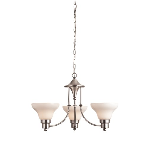 Westinghouse Chandelier Satin - Westinghouse 6228100 Swanstone Three-Light Interior Chandelier, Satin Nickel Finish with White Opal Glass