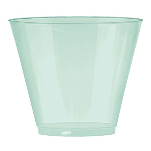 JAM PAPER Plastic Glasses Party Pack - 9 oz Tumblers - Light Teal Blue - 72 Hard Plastic Cups/Pack