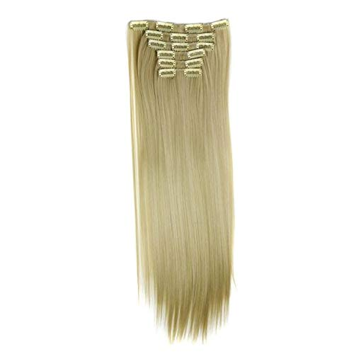 LEERYAAY Natural Beauty Full Head Women Clip Synthetic High Temperature Wire Straight Hair Piece Beige