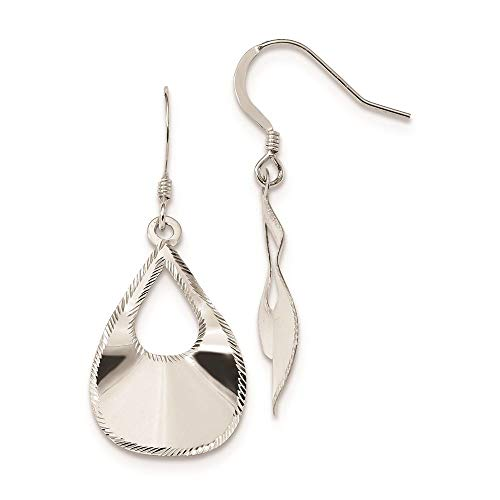 Sterling Silver Laser Cut Teardrop Dangle Hook Earrings (41.3 x 16.75 MM) ()