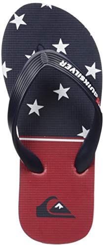 Quiksilver Boys' Molokai 4TH Youth Flip-Flop, Blue/red/White, 5(37) M US Big Kid