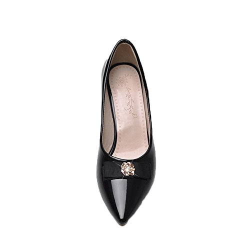 Round Pull Women's WeiPoot Pu Heels Shoes Solid Kitten Pumps Toe Black Closed On TXgqx8gZ