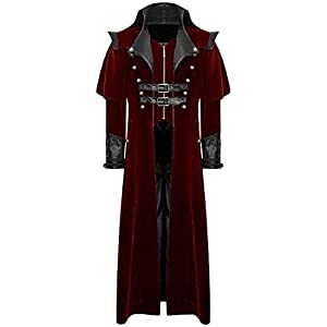 Joe Wenko Men's Vintage Steampunk Halloween Goth Outerwear Long Trench Coats