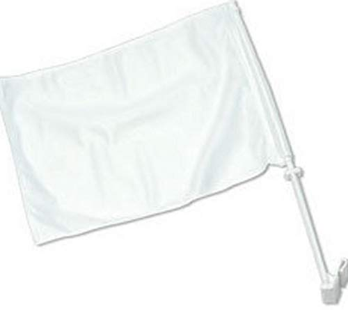 Hebel 12x18 Solid White Advertising Double Sided Car Window Vehicle 12x18 Flag | Model FLG - 936