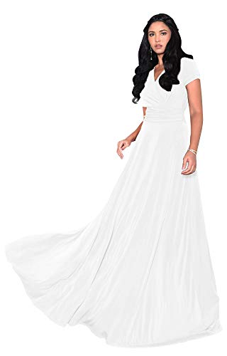 KOH KOH Womens Long Cap Short Sleeve V-Neck Flowy Cocktail Slimming Summer Sexy Casual Formal Sun Sundress Work Cute Gown Gowns Maxi Dress Dresses, Ivory White L 12-14 (Long Ladies Gowns)