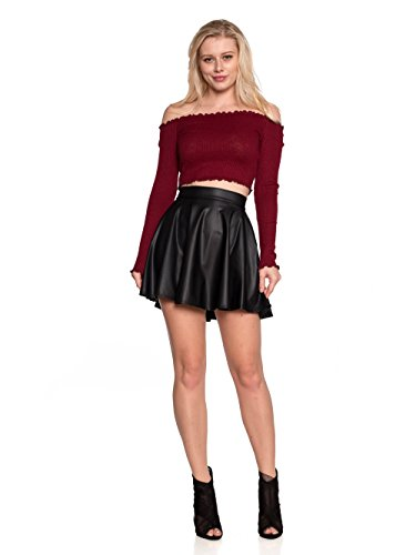 f29ae189b77 Cemi Ceri Women s J2 Love Faux Leather Back Gold Zip Mini Skater Skirt