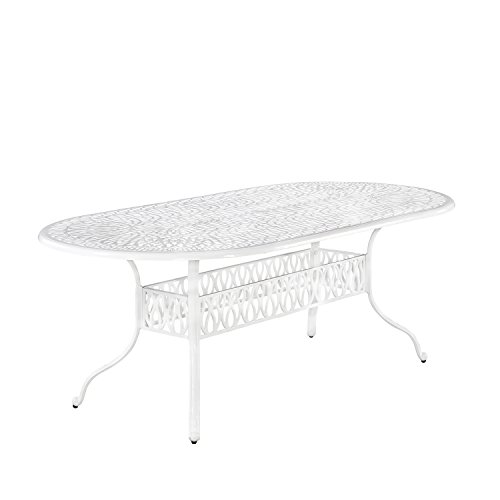 Floral Blossom White Oval Outdoor Dining Table by Home - Oval Table Top Cast Dining