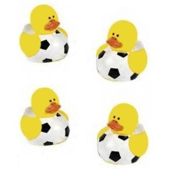 Lot Of 24 Mini Soccer Ball Rubber Ducks - Party Favors - Soccer Rubber Duck