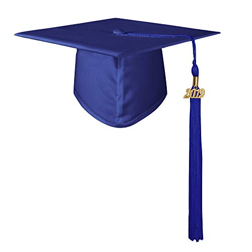 GraduationMall Unisex Adult Matte Graduation Cap with 2019 Tassel Royal Blue