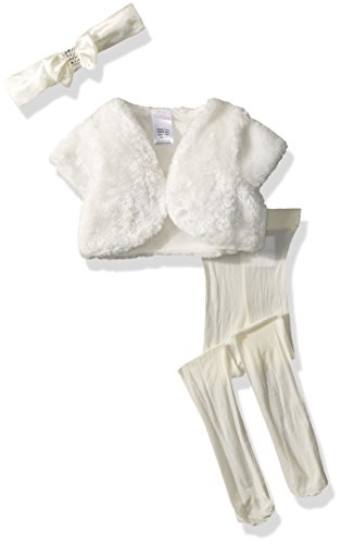 Baby Shrug - Youngland Baby Girls 3 Pc Gift, Faux Fur Cardigan, Tights & Headband Set, Ivory, 0-3 Months