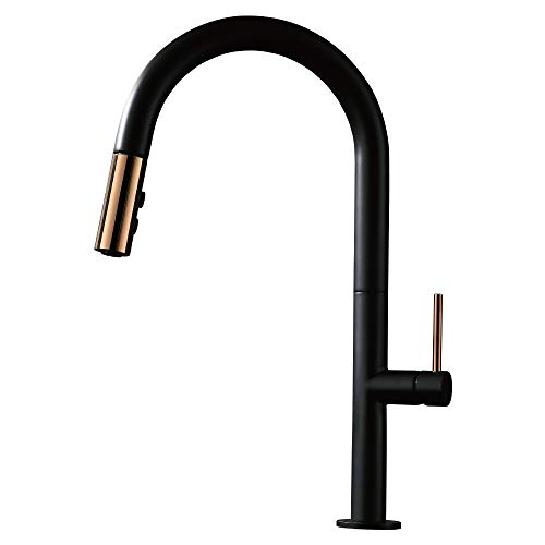 TURS High Arc Pull out Kitchen Faucet Black Single Lever Kitchen Sink Mixer With Pull Down Sprayer BRASS Tap with Single Handle Matt Black Finish, FK001BK (Kitchen Sink Mixer Faucet)