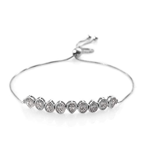 Diamond Baguette Bolo Bracelet 925 Sterling Silver Platinum Plated Gift Jewelry for Women Cttw 0.3 Adjustable