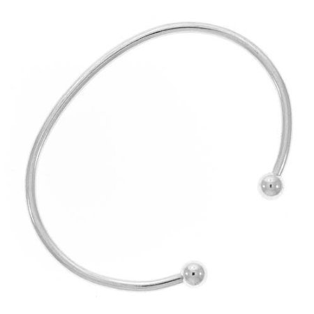 Stainless Steel European Style Screw End Bangle Cuff Charm Bracelet 6.5 Inch Compatible With Most Major Womens and Girls Charm Beads