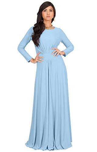 KOH KOH Womens Long Full Sleeve Sleeves Flowy Empire Waist Fall Winter Modest Formal Floor Length Abaya Muslim Gown Gowns Maxi Dress Dresses, Powder Light Blue L 12-14 47 Chest 37 Sleeve