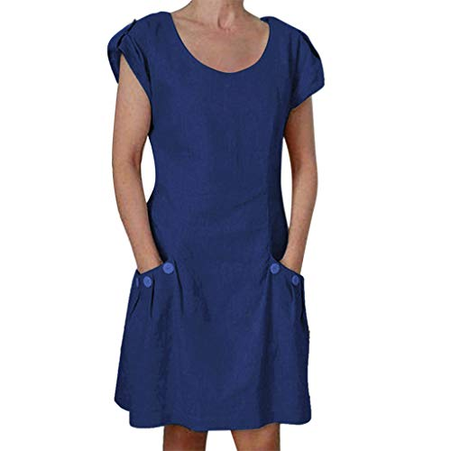 Coedfa✿ Women Solid Casual Ruffled Pockets O-Neck Shift Daily Buttoned-Decor Dresses Blue