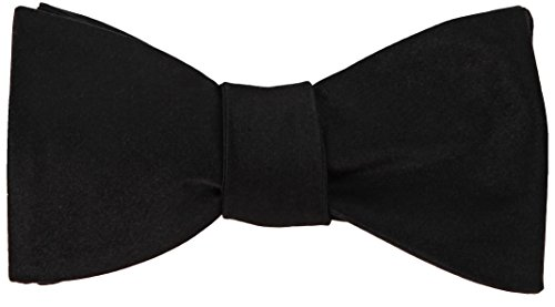 Black 100% Woven Silk Bow Tie Self-Tie Butterfly Wedding Collection Gift Boxed (Silk Ties Bow Woven)