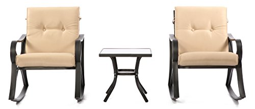 OUTROAD 3 Piece Patio Set All Weather Black Cast Aluminum Bistro (Large Image)