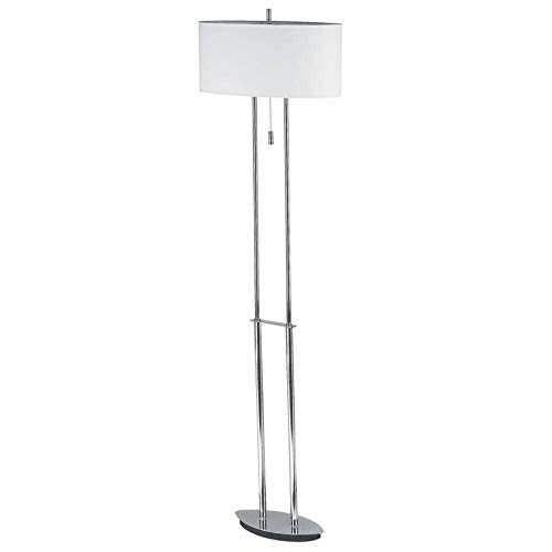 Dainolite DM2222F-PC Floor Lamp with Oval Linen Shade, Polished Chrome