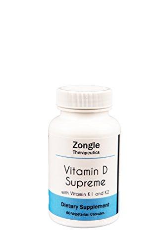 Zongle Therapeutics - Vitamin D Supreme with K1 and K2-60 Vegetarian Caps - D3 5000 IU + Vitamin K 550 mcg