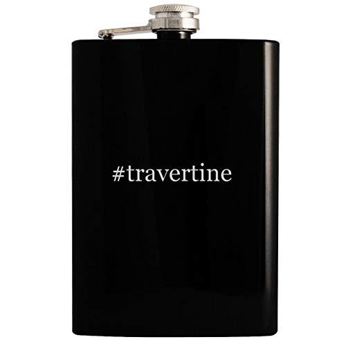 #travertine - 8oz Hashtag Hip Drinking Alcohol Flask, Black