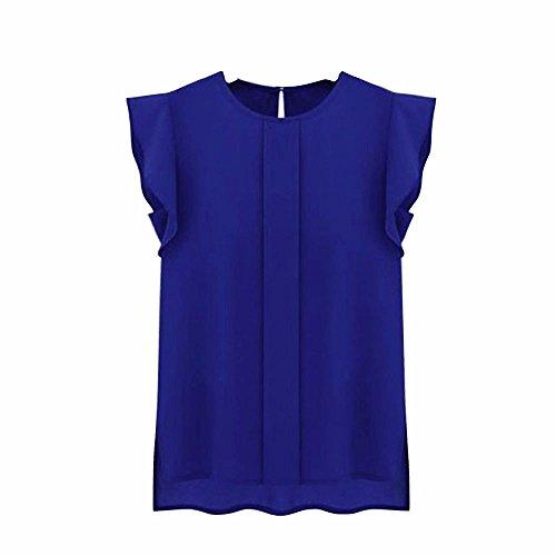 Dacawin Spring Women's Casual Loose Chiffon Short Tulip Sleeve Shirt Tops (XL, Blue)