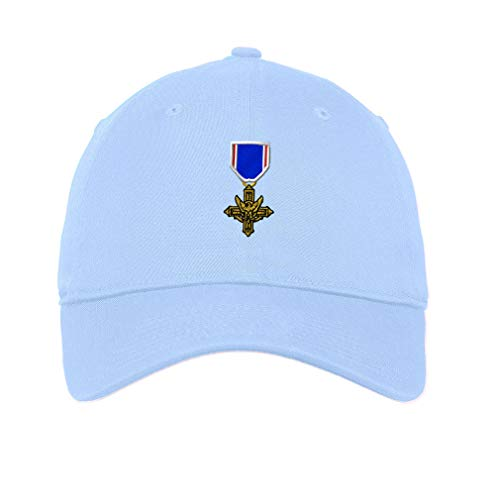 Low Profile Soft Hat Distinguished Service Cross Embroidery Veteran Cotton Dad Hat Flat Solid Buckle - Light Blue, Design Only