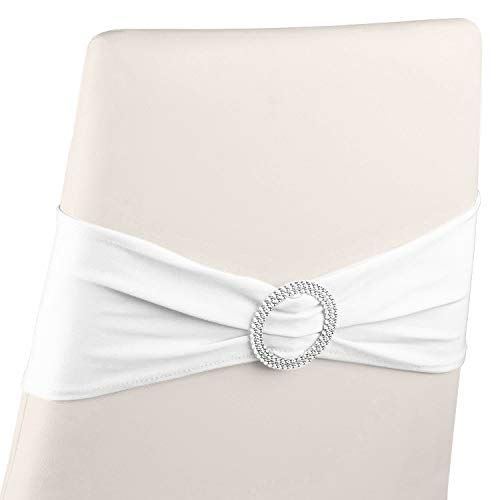 Juvale White Chair Sashes with Buckles (Set of 50) Wedding Spandex Sash No Pins or Clips Needed fits 14-18 Inch Dining Chairs