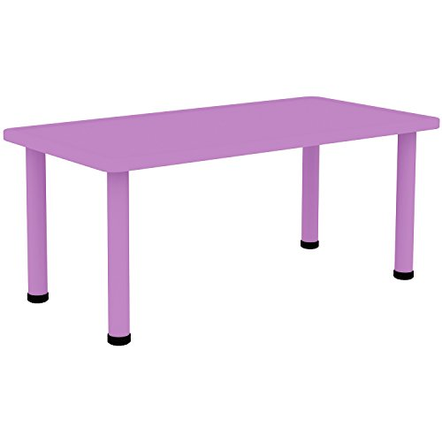 """2xhome - Purple - Kids Table - Height Adjustable 18.25'' - 19.25'' Rectangle Shape Child Plastic Activity Table Bright Color Learn Play School Home Fun Children Furniture Round Safety Corner 24""""x48'' by 2xhome (Image #4)"""