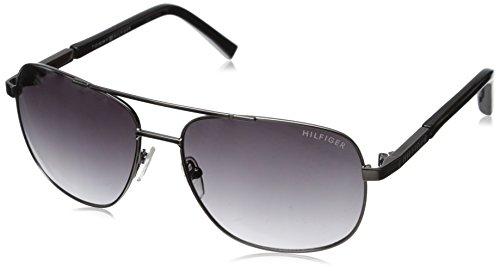 Tommy Hilfiger Women's THS DM91 Rectangular Sunglasses, Gunmetal & Black, 60 - Tommy Hilfiger Sunglasses Polarized